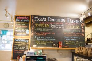 Kakawa Chocolate House elixir menu board